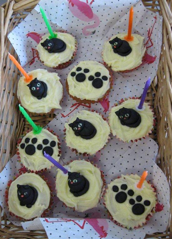 Invariably, someone coming to our meet-ups brings treats to sweeten the afternoon. Eleanor baked these wonderful cupcakes decorated with cats' faces and paw prints for Fiona's birthday. They were delicious. Well done, Eleanor!