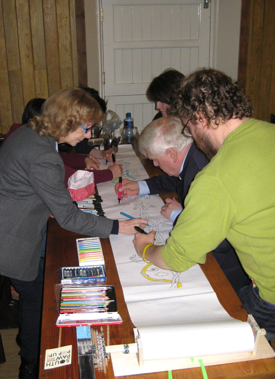 SCBWI Ireland South Social Event in October 2015 featured everyone getting involved in Martin Fahy's Beanstalk Doodle project!