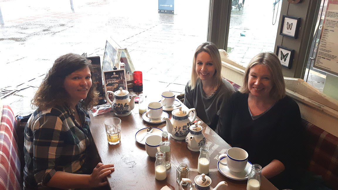 Photo from left to right: Volunteer social liaisonVicky McFarland, Jenny Ireland, and Jill K Wilson at the Belfast social event on 1 October 2017